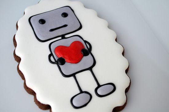 Cute valentine robot cookie
