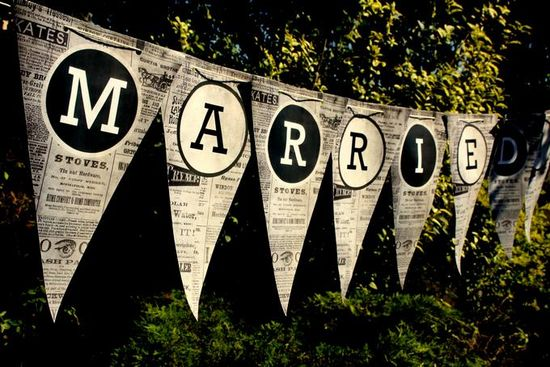 Just Married Vintage Newspaper alphabet Bunting Free Printable