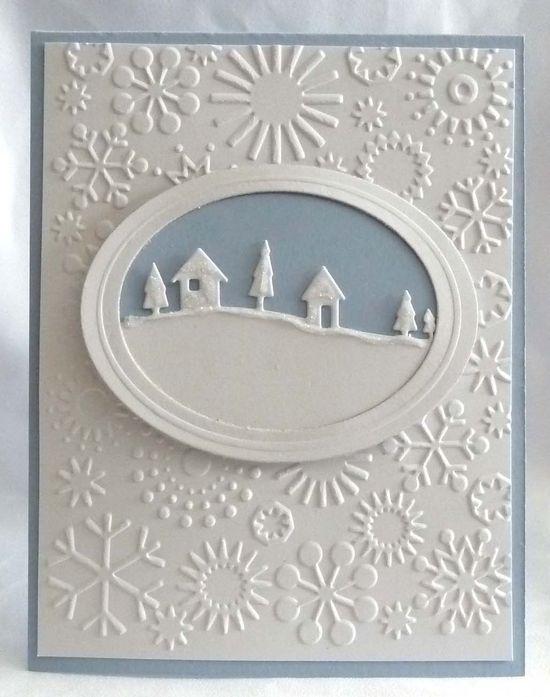 card: framed snowy scene..snowflake embossing folder...simply beautiful...