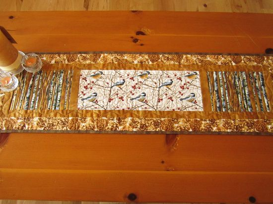 Handmade Quilted Table Runner Birds and Trees