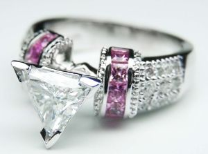Trillion Diamond Engagement Ring Square Pink Sapphire Band