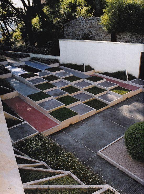Cubist garden designed by Gabriel Guevrekian,