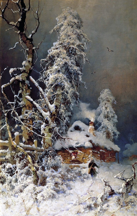 Yuly Klever. A Winter Landscape with an Izba. 1880s-90s