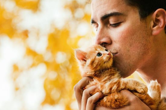 Random attractive man with baby kitty.