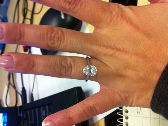 Pear Ring...help with wedding band? :  wedding diamond pear wedding band Photo Keywords: #weddings #jevelweddingplanning Follow Us: www.jevelweddingp... www.facebook.com/...