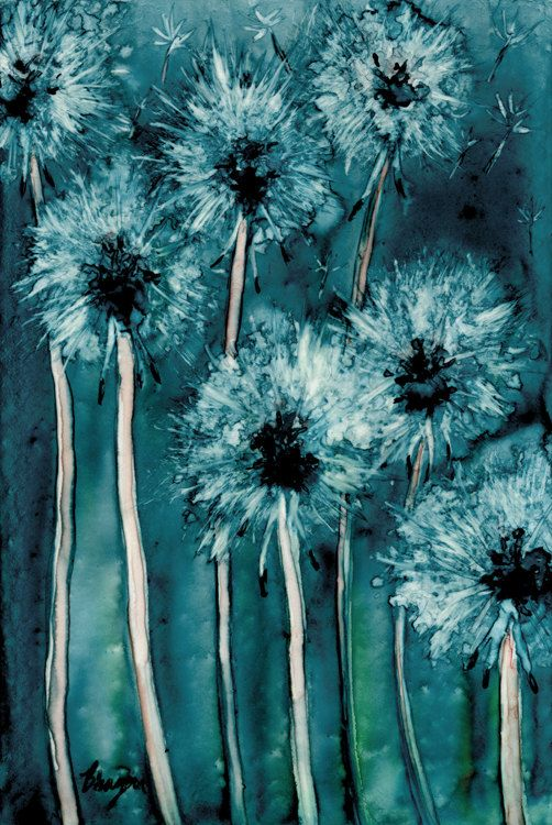 Dandelion Wishes - Floral Abstract Art Watercolour Painting .