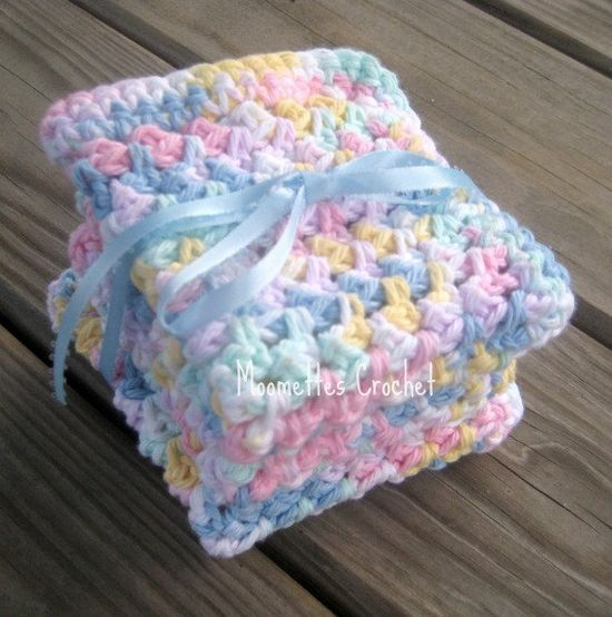Baby Wash Cloths Pure Cotton Crochet Bath Scrubbies Delicate Pastel Washcloths Handmade Gift Set of 3, by MoomettesCrochet #baby #pastels #crochet