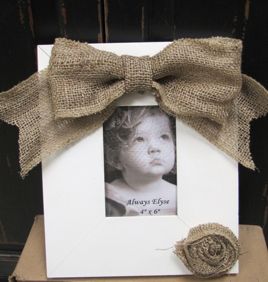 Rustic Burlap Picture Frame - Maybe put pictures of Court and Dan on the tables at the reception?