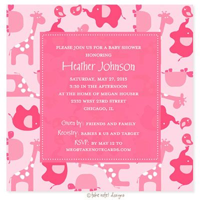 Baby animals in pink for baby shower invitation