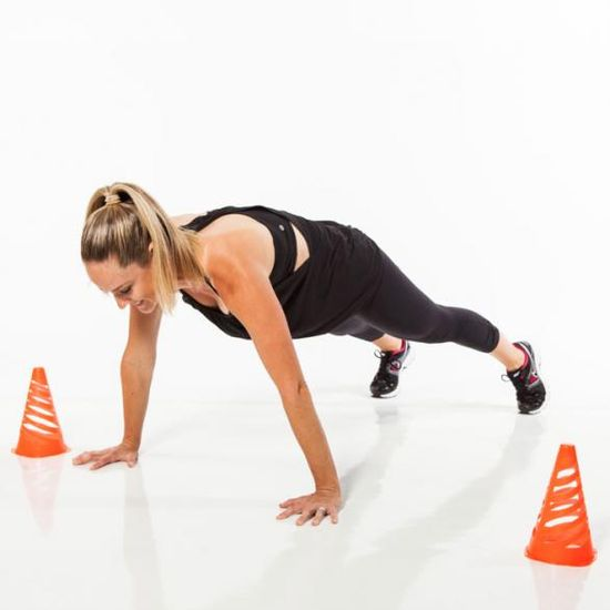 Plank walks: Set up two cones and get ready for a serious total-body burn.