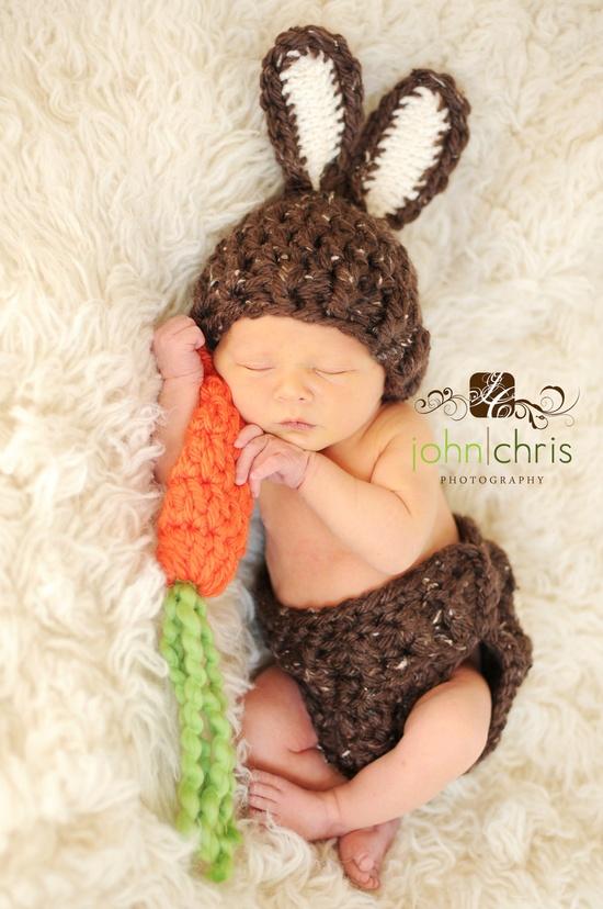 Baby Bunny Hat Newborn Photo Prop Set Easter Rabbit by lilianda, via Etsy.