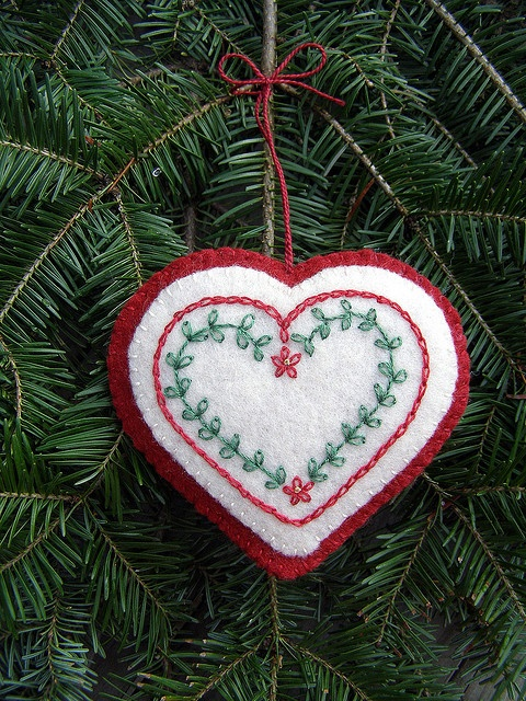 embroidered heart ornament