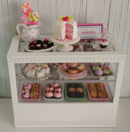 bakery case with sweets