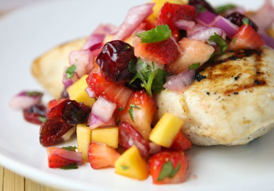 Coconut grilled chicken with mango salsa