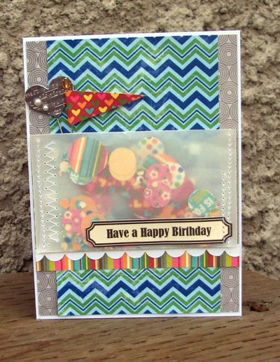 Have A Happy Birthday Card by Nicole Nowosad using Jillibean Soup's Patterned Papers, Vellum Envelopes, Sugar Picks and Birthday Soup Labels (via the Jillibean Soup blog).