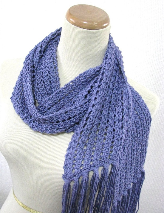 Blueberry Frappe Hand Knit Lace Scarf Great for by ArlenesBoutique,