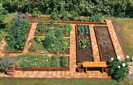 Raised garden beds with brick paths.