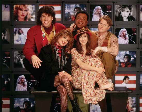 Original MTV veejays...Nina Blackwood, Martha Quinn, Mark Goodman, JJ Jackson, Alan Hunter