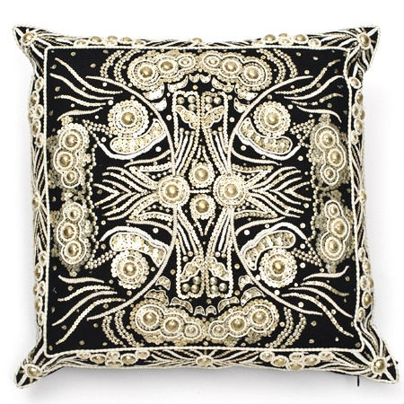 Silver Sequin Embroidery Designer Pillow, Amazing Needlework, Inspiring Interior Design Fans With Unique Luxury Hollywood Home Decor & Gift Ideas From InStyle-Decor.com Beverly Hills Enjoy & Happy Pinning