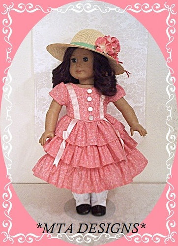 "Time-period ""Summer Dreams"" 3pc Frock Ensemble fashioned for the American Girl Doll by MTA DESIGNS"