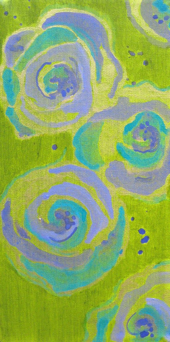 FLOWERS painting original abstract  6x12 green by devikasart, $58.00    ...BTW,Please Check this out:  artcaffeine.imobi...