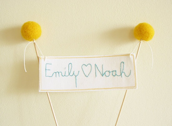 Craspedia Wedding Cake Topper Personalized Names Banner Needle felted Faux Craspedia Billy Buttons by Cherrytime. $35.00, via Etsy.