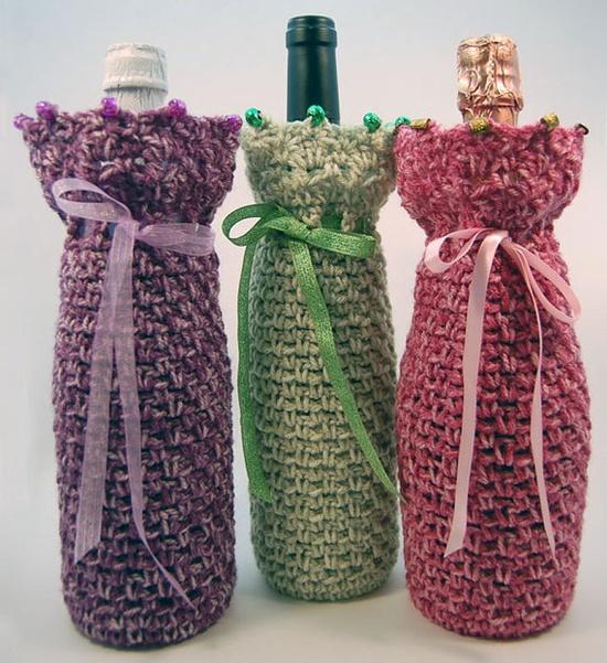 Wine Bottle Cover Gift Bag  Crochet  Purple Violet  by MadeByHand, $8.00