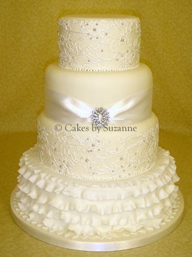 Lace and ruffles on wedding cake!