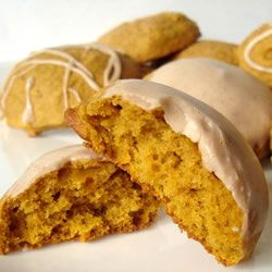 Iced pumpkin cookies - very, very addictive.  Add chocolate chips for extra deliciousness. #cookies