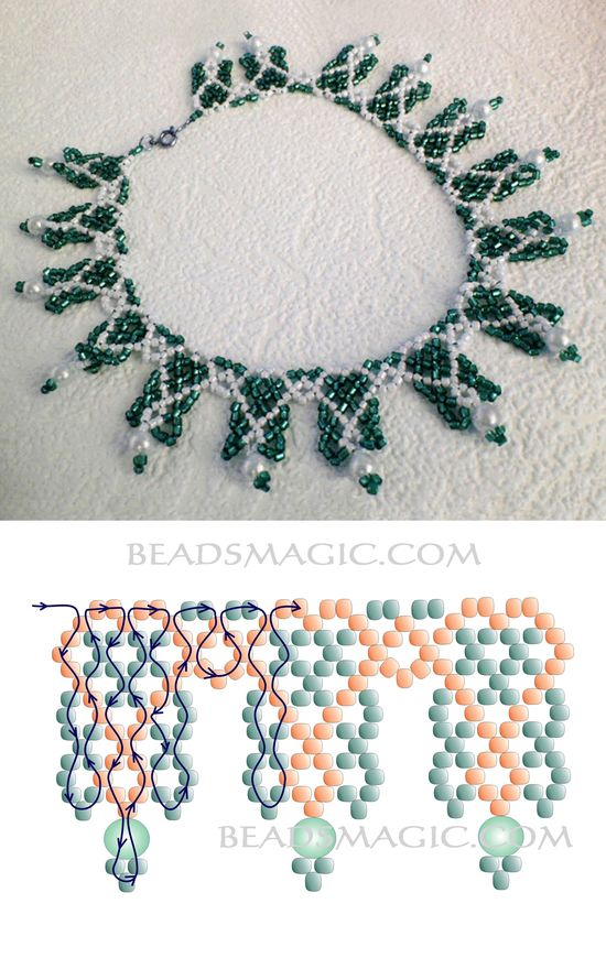 Free pattern for beaded necklace Sami 11/0-4-6 mm cseh csiszolt