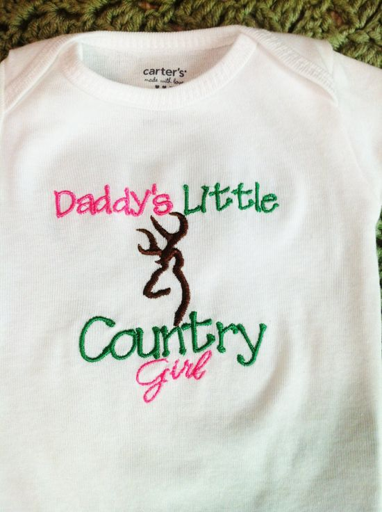 Embroidered Onesie - Daddys Little Country Girl - Browning Symbol. $14.00, via Etsy.