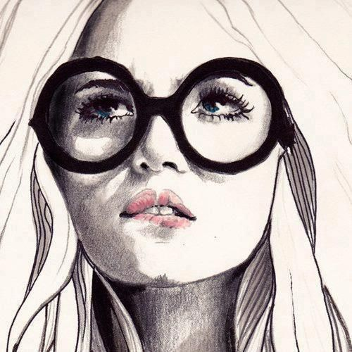illustration of a girl wearing glasses