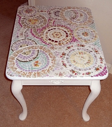 Handmade Broken china plate Mosaic side end table shabby chic cottage beach