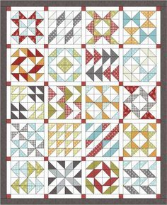 Layer Cake Sampler Quilt Along - Material Girl Quilts use Farmhouse layer cake