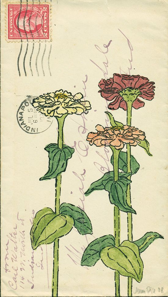 Zinnias by Amy Rice. Hand Painted Gocco Print (Gouache and Ink) on Antique Envelope