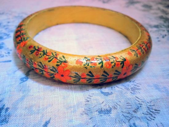 Vintage 1960s Indian HandPainted Wooden Floral Bangle by shopFiligree, $28.00