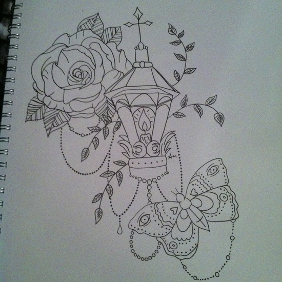 LANTERN WITH ROSE AND BUTTERFLY