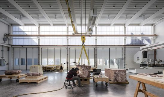 The studio designed the facility by working off an existing 10,000-square-foot warehouse in Brooklyn neighbourhood Greenpoint and building additional spaces on adjacent lots.