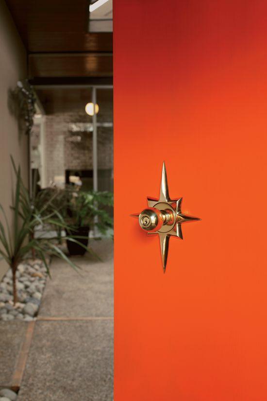 Orange door with Titan starburst door set