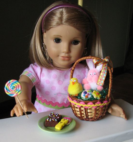 PINK EASTER EGG DRESS WITH HAT AND EASTER BASKET FITS AMERICAN GIRL DOLL