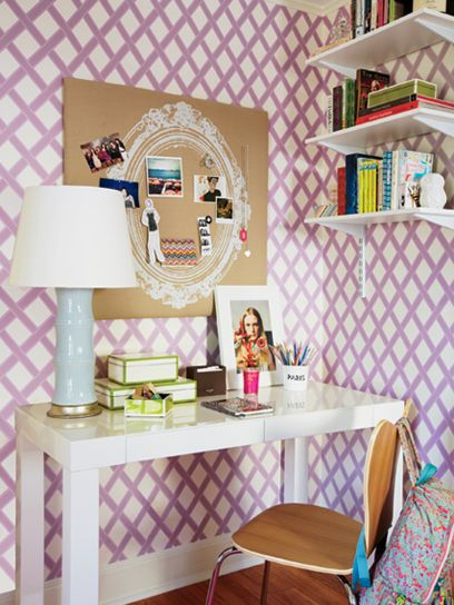 Spark bright ideas with this decorative lamp from Bungalow 5 and vintage-inspired pinboard from pbteen.com. Feeling daring? Let your walls speak for themselves with lattice wallpaper, like this design from Sonia's Place.
