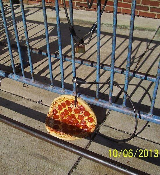 pizza bike lock, funny photos