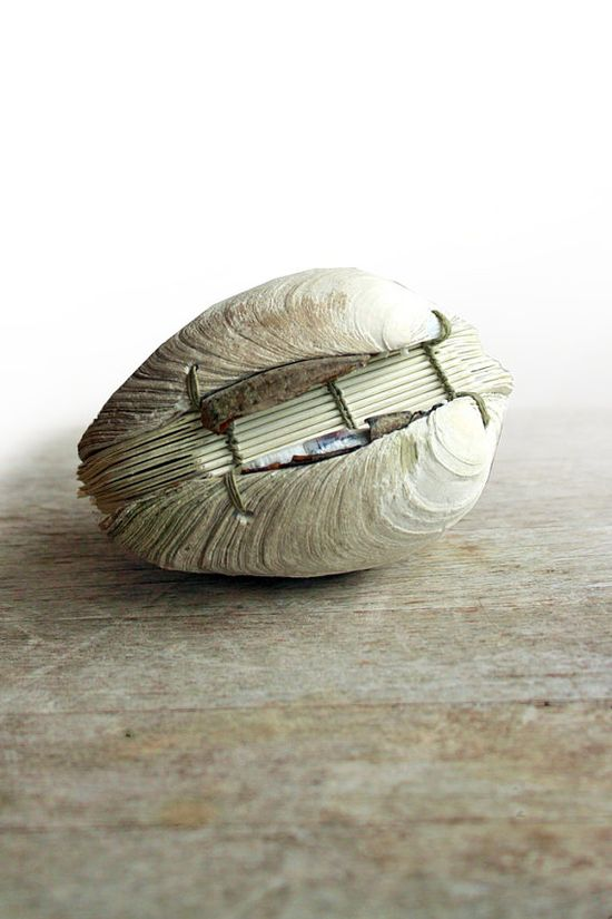 Wow. :: Book of the Sea, Handstitched Clamshell Book Sculpture by odelae