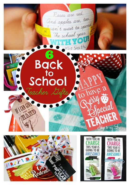 6 Easy and Free Teacher gift ideas and printables! www.skiptomylou.org