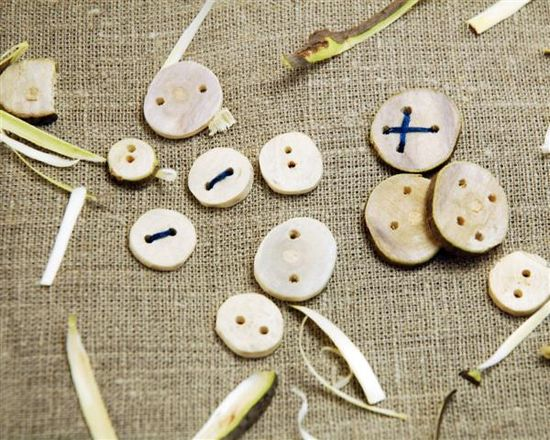 Wooden Buttons from Fallen Branches DIY By Kristin Roach with instructions on how to dry the wood and how to prevent splitting during drilling.