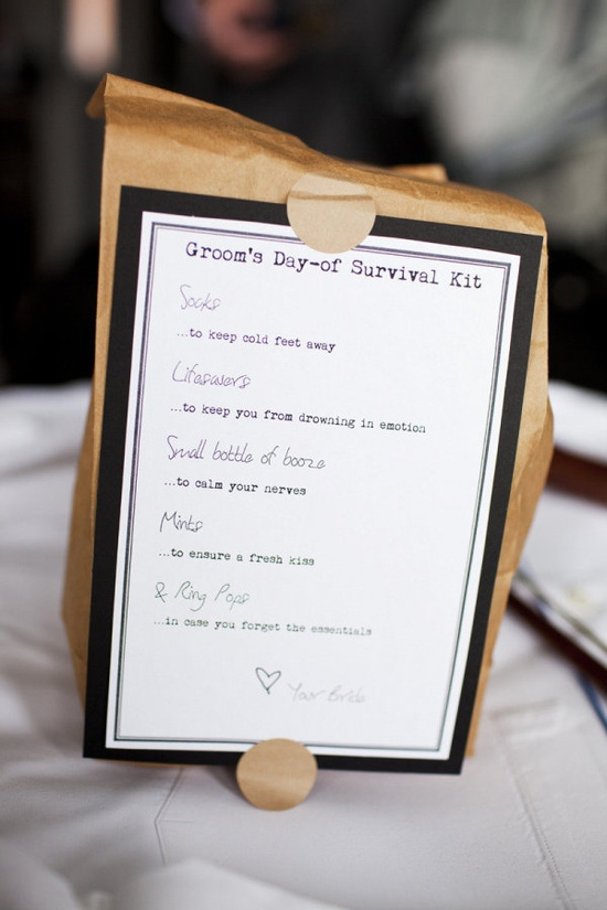 "Groom's Survival Guide ~ from his bride ;) This would be a cute ""trend"" to start! Photography by lauren-wakefield.com"