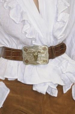 ruffled shirt with cowboy belt buckle - Inspiration Lane