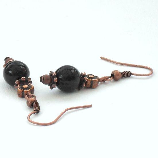 Black onyx and copper handmade earrings by Beadstorm Jewellery