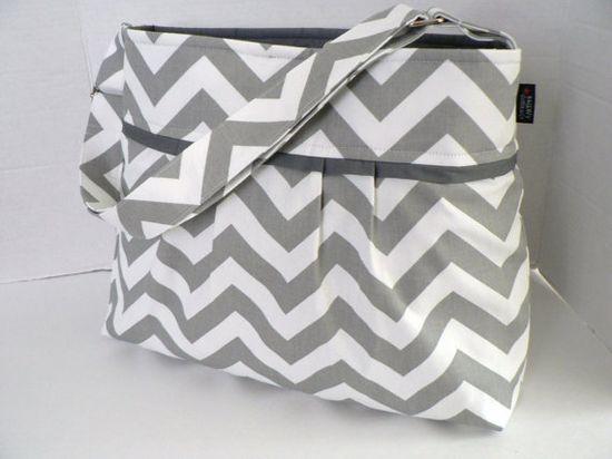 grey chevron diaper bag