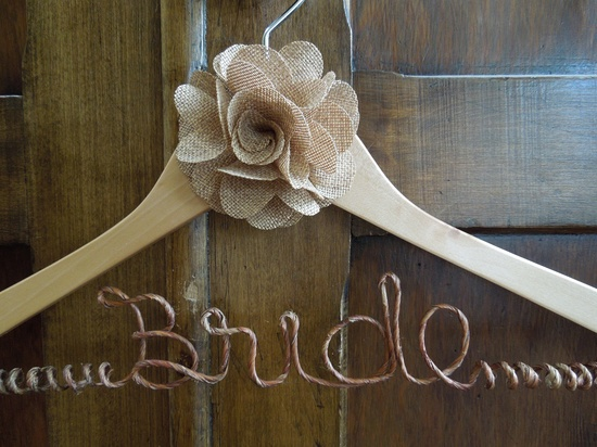Rustic wedding hanger, Barn wedding hanger, Bridal Shower Gift, Country Wedding Hanger, Bridal Hanger. $26.00, via Etsy.
